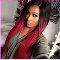 Fashion Two Tone Black To Red Synthetic Wigs Long Straight Cheap Women Synthetic Wig Ombre Heat Resistant Hair Wigs
