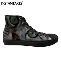 INSTANTARTS Men's Vulcanize Canvas Shoes Spring Man Lace Up High top Shoes Cartoon Cat Eyes 3D Print Male Sneakers Hombre Flats