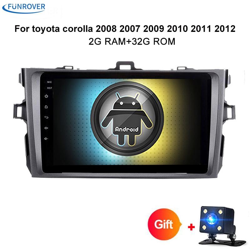где купить Funrover android 8.0 car dvd for toyota corolla 2008 2007 2009 2010 2011 2012 car radio gps tape recorder navigation usb rds FM дешево
