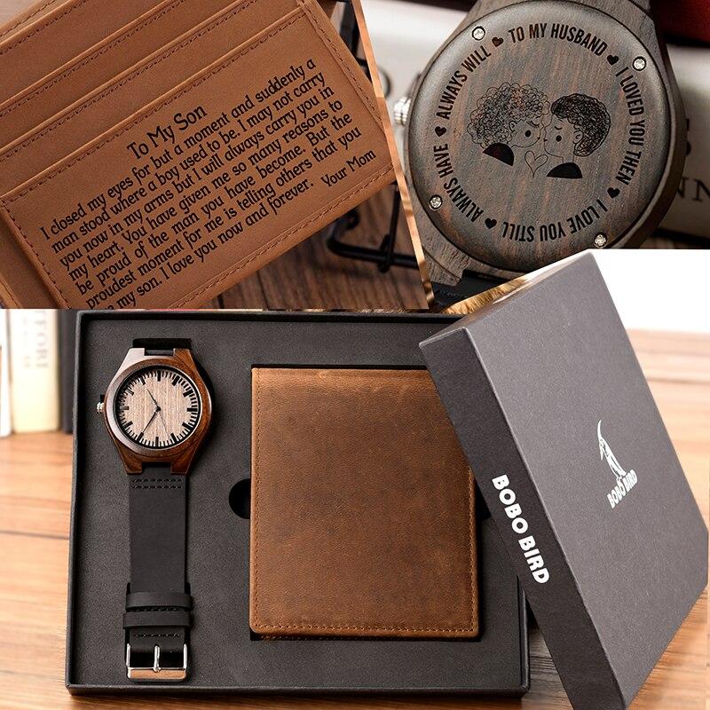 BOBO PÁSSARO Homens Assistir Set Carteira Presentes Da Família Personalizado Relógios Presente para Homem Marido Namorado Presente Especial Gravura Livre