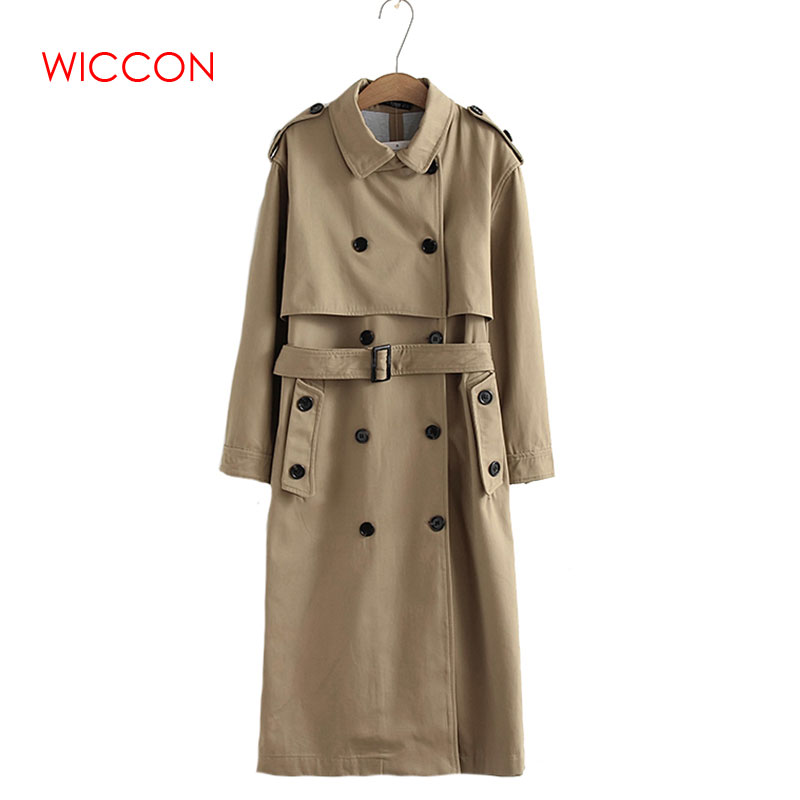 Women Autumn Top Casual Solid Color Double Breasted Outwear Sashes Office Coat Chic Epaulet Design Long   Trench