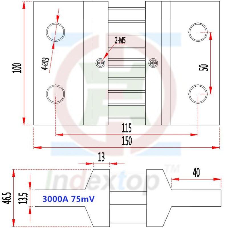 75mV 1000A Shunt Resistor FOR DC Current Meter Amp Analog Panel Ammeter