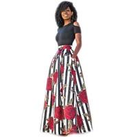 Nieuwe Twee Stukken Vrouwen Maxi Jurken Korte Mouw Zwart Off schouder Top Lange Bloem Bloemen Jurk Vestidos Lange Vrouwen Afrikaanse jurk