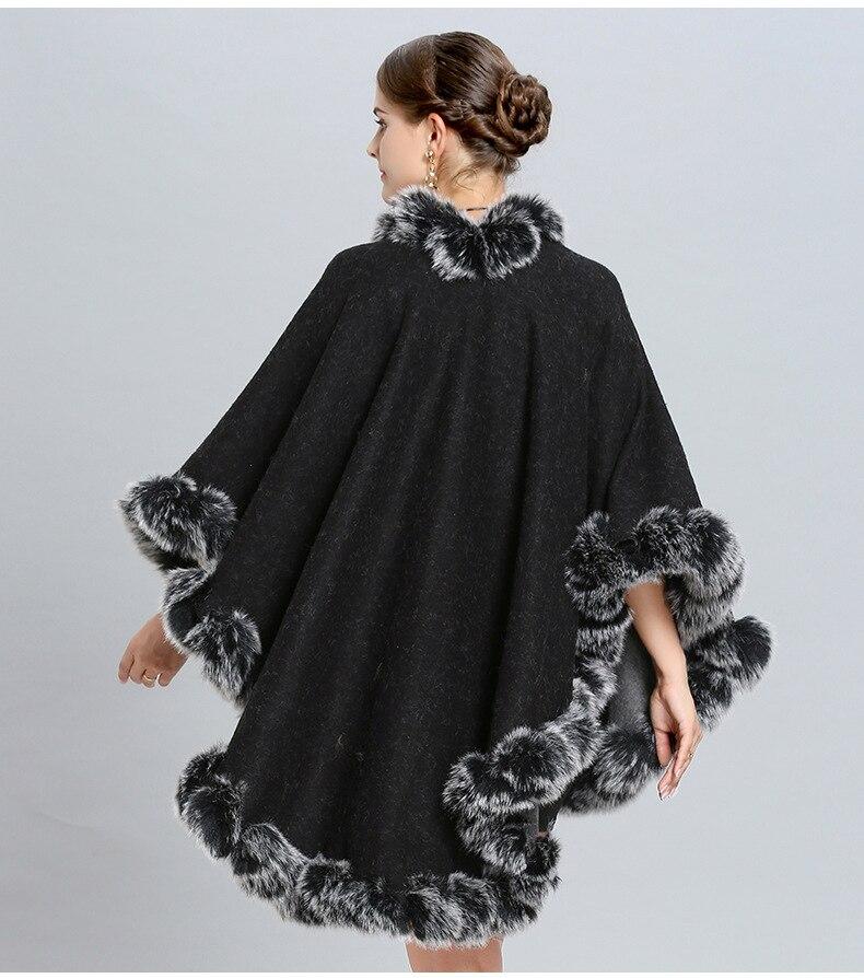 Hiver Gtgyff Wear Wear Poncho Noir Gris Thermique Jumper Fourrure Pour Cape Ponchos Jersey Sizes both Les Chaud Wrap Écharpe Both Cardigans De Femmes Tricoté Chandail dBrx0BTq