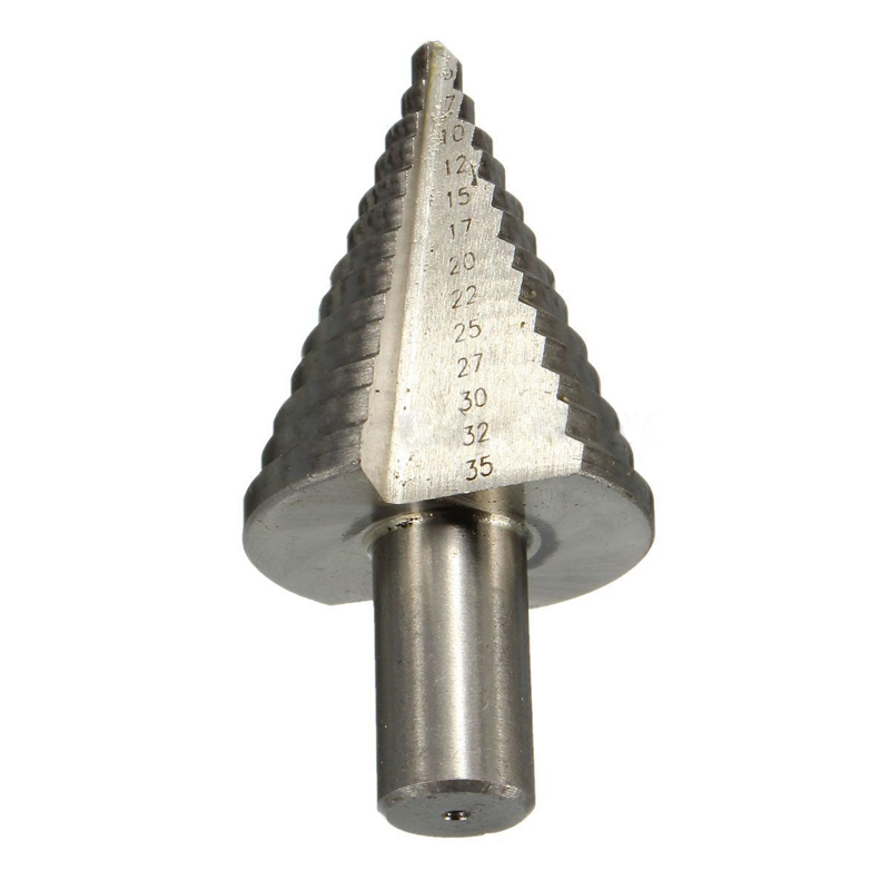 1pc 5-35mm Step Cone Drill Bit HSS Spiral Grooved Woodworking Hole Cutter Triangle Round Shank For Power Tools jelbo cone step drill hole tools countersink 3pc drill bit set power tools step drill bit for metal power tools set hole cutter