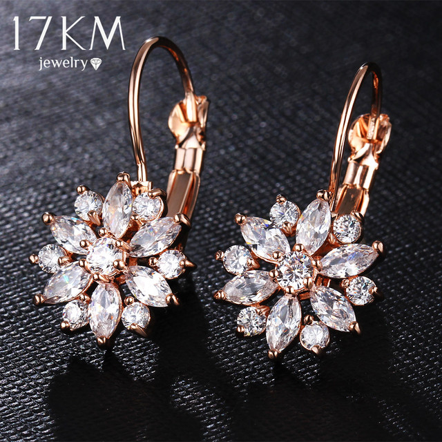 17KM Brand 3 Color Crystal Flower Stud Earrings For Women 2017 Bijoux Vintage Love Wedding Earring Statement Brinco Bijouterie