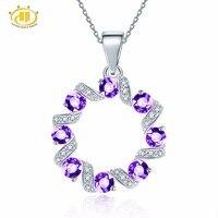 Hutang Ametyst Naturalny Kamień Afryki i Podobne Diament Solidna 925 Sterling Silver Wisiorek Naszyjnik Dla kobiet Biżuterii