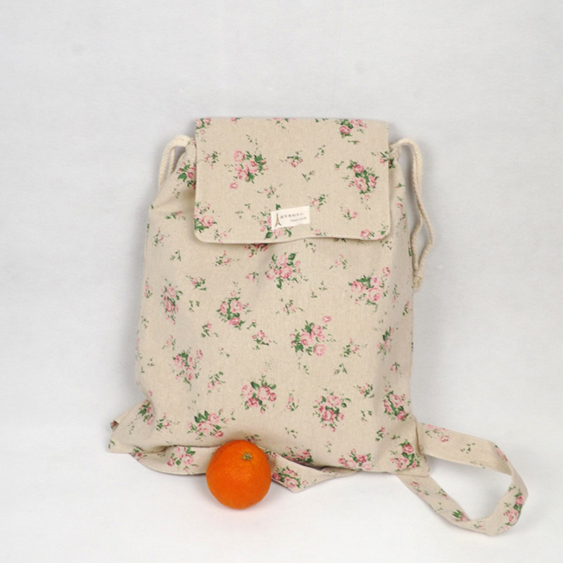 YILE Handmade Cotton Linen Draw String Backpack Student Book Bag Rose Flower WF05
