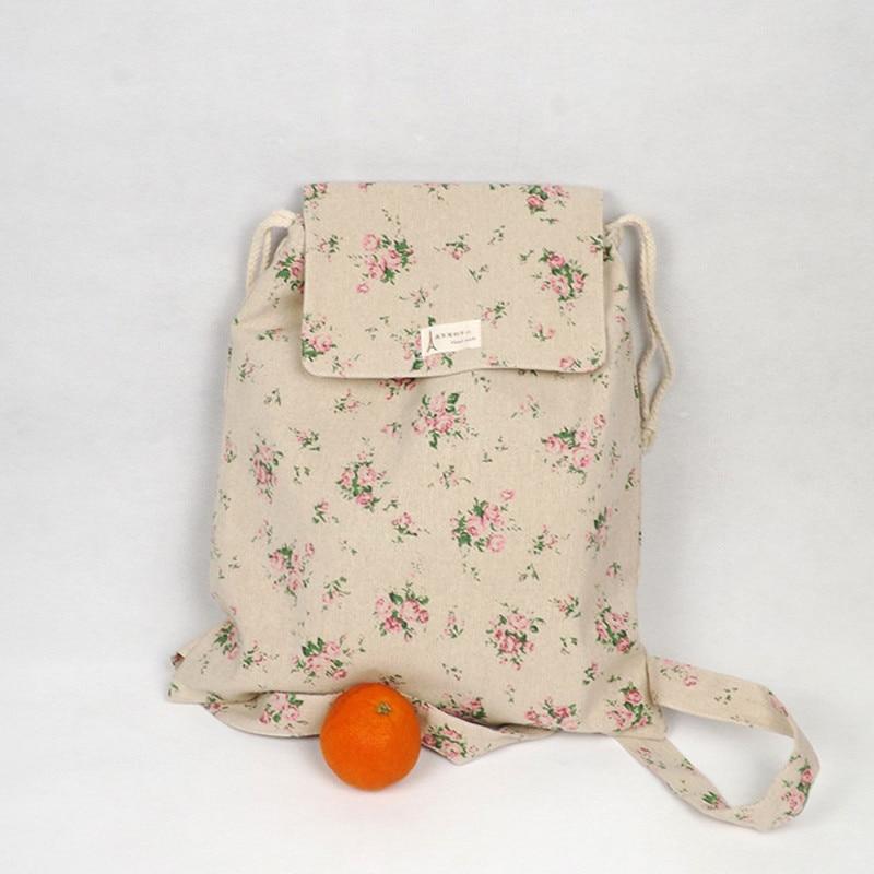 YILE Handmade Cotton Linen Draw String Backpack Student Book Bag Rose Flower WF05