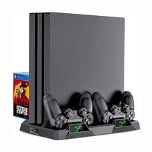 منصة رأسية جديدة متعددة الوظائف لـ PS4/PS4 Slim/PS4 Pro اثنين من مراوح التبريد + 2 جهاز شحن/محطة ل Dualshock 4 Controller