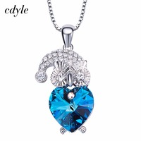 Cdyle Crystals From Swarovski Fashion Pendants Women Necklaces Jewelry Purple Color Blue Color Australian Rhinestone Paved