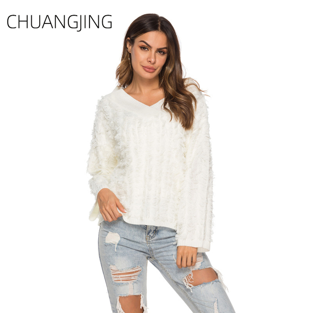 Casual Knitted Sweater Women Winter 2019 V-neck Long Sleeve Solid Pullovers Sweater Ladies Autumn Fashion Streetwear Sweater