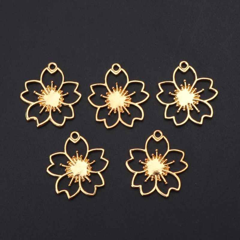 5Pcs Cherry Flower Blank Resin Frames Pendant Bezel Setting Resin Jewelry Findings jewelry making supplies