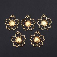 5Pcs Cherry Flower Blank Resin Frames Pendant Bezel Setting Jewelry Findings jewelry making supplies