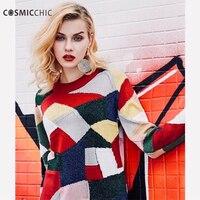 Cosmicchic шерстяного трикотажа Цвет геометрический свитер Пуловеры с круглым вырезом Свитер с длинными рукавами взлетно посадочной полосы мод