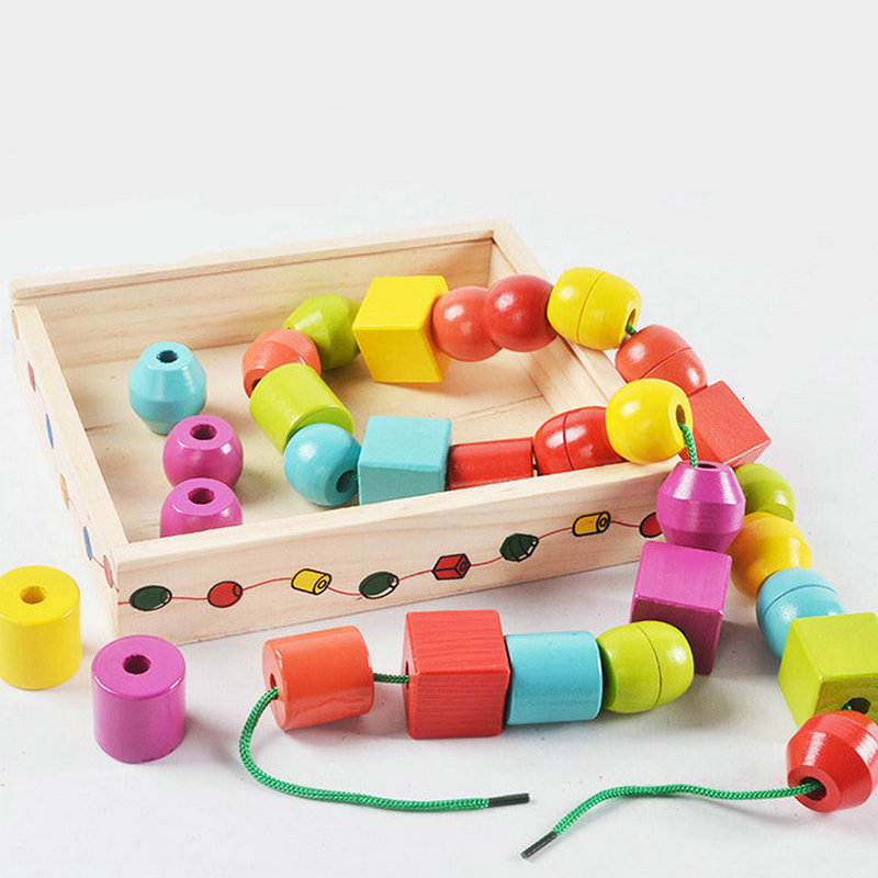 30PCS Large Particles Shape Wooden Building Blocks Available Rope Connection Baby Toys, Children's Education Block DIY Beads Toy