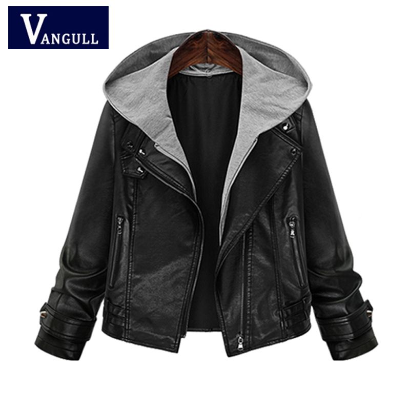 Fashion Casual Women's Clothing 2018 Autumn & Winter Hooded Faux   Leather   Coat zipper Plus Size Slim women   Leather   Jackets