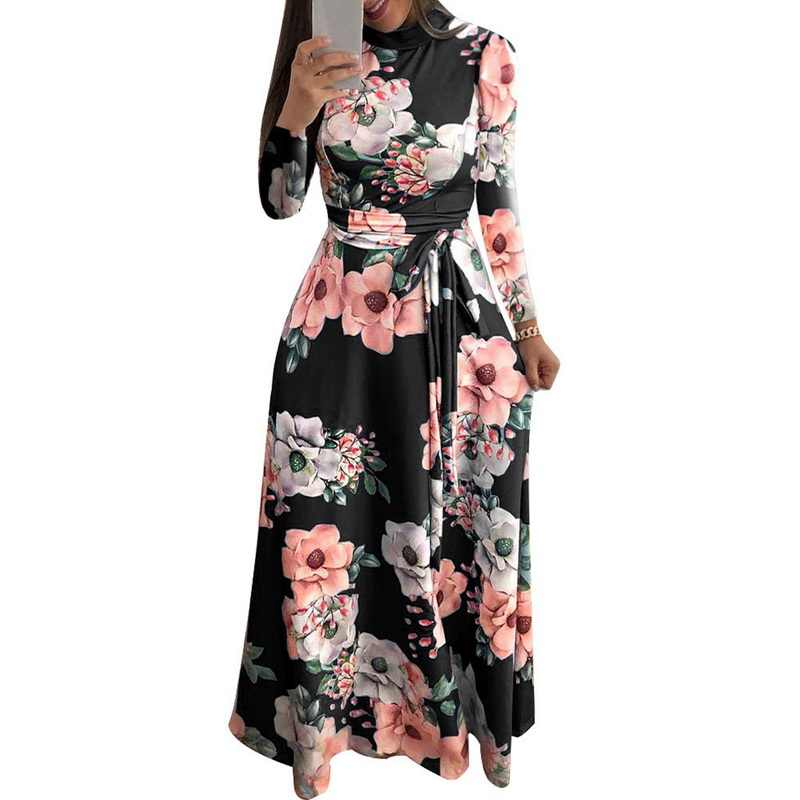 672d4c3e24 LASPERAL 2019 Spring Casual Flora Printing Boho Dress Women Vintage Robe  Classic Party Bandage Maxi Dress