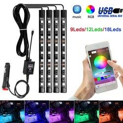 4pcs 12V Light Car interior RGB LED Strip tape DRL 5 12 v Music/IR/APP Control Auto Decorative Flexible Kit Fog Lamp neon cord