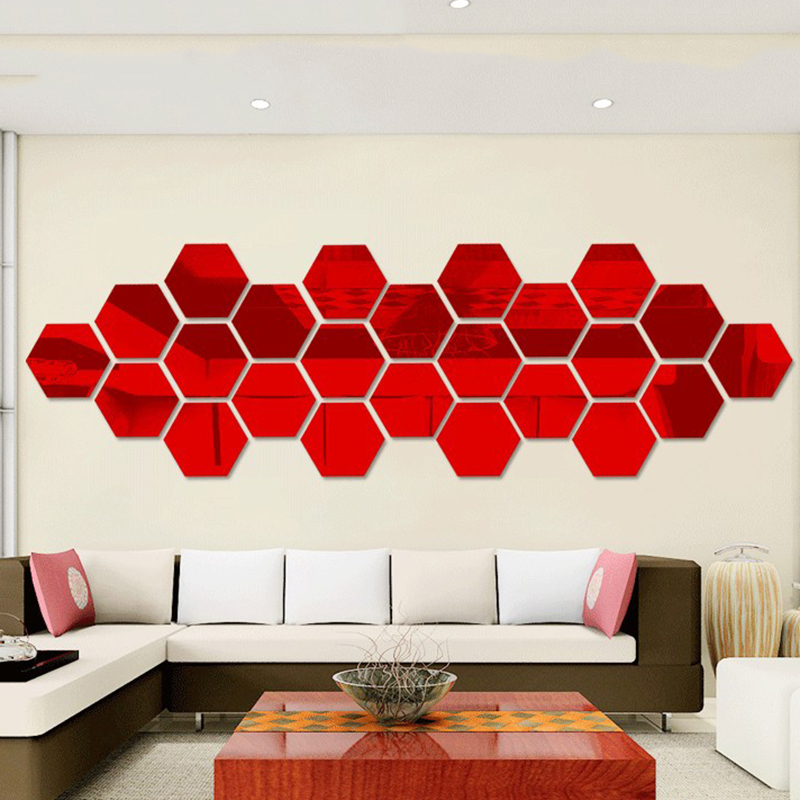Brand New 12pcs/set 3D DIY Acrylic Mirror Wall Stickers Home Decoration Geometric Living Room Poster Adesivo De Pared Art Decal