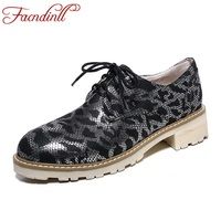FACNDINLL Plus size 34-43 women pumps new fashion round toe lace-up mid heels woman shoes black printing snakeskin leather pumps