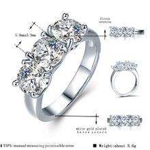 MDEAN oro blanco Color amor corazón anillos de boda para las mujeres AAA Zircon joyería Femme Bijoux Bague tamaño 6 7 8 9 10 H005