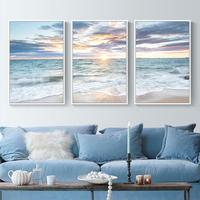 2018 New 5D Modern Living Room Landscape Diamond Painted Full Drill New Sunshine Beach Triptych Painting Brick Stone Embroidered