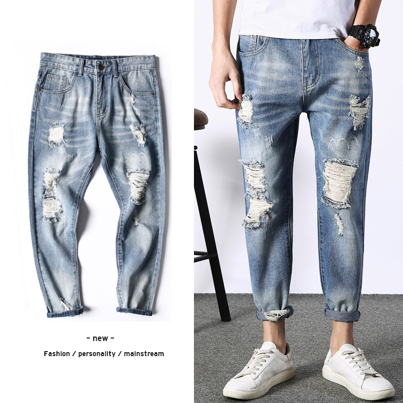 2018 Mens Fashion Trend Casual Blue Holes Cowboy Ankle-length Pants Jeans Stretch Slim Fit Homme Denim Trousers Plus Size 27-36