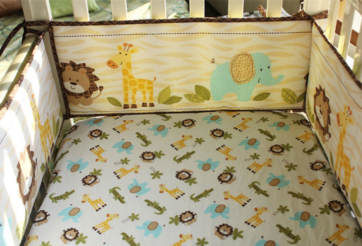 5pcs Embroidery crib bed linen baby Bedding set baby cot set Bumper Crib Protection ,include (4bumper+bed cover) 5pcs embroidery cotton crib bed linen kit cartoon baby cot bedding set bed sheet include 4bumper bed cover