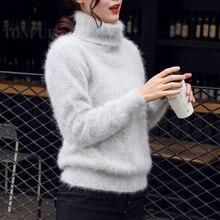 Новинка, вязанные пуловеры из натурального норкового кашемира, водолазка, натуральный чистый свитер кашемир с норкой, лидер продаж, FP962
