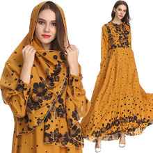 The New Muslim Women Dresses Printed Big Pendulum Long Sleeve Malaysia Islamic Abaya Fashion Maxi Dress