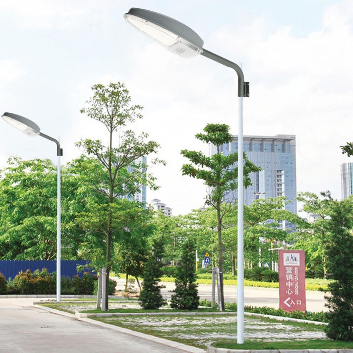 24W Photocontrol Light Sensor Road LED Street Light Floodlight Outdoor Yard LED Garden Lamp With Mounting Arm 2400LM AC85-265V