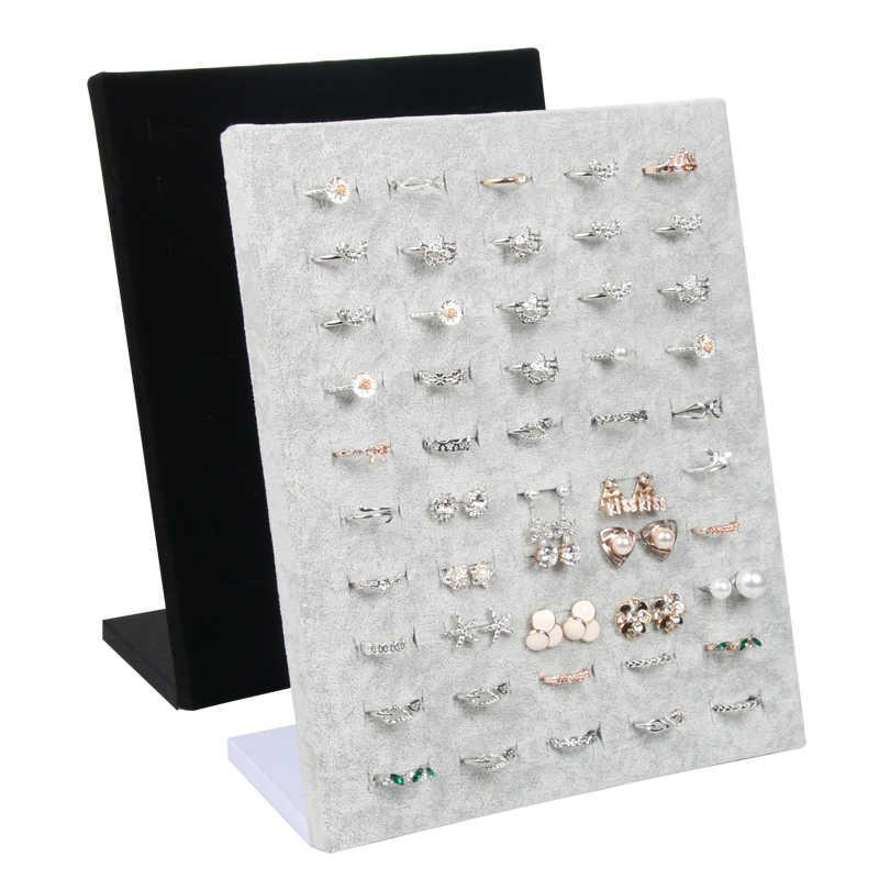 Soporte de exhibición de anillo de terciopelo para tienda, 50 asientos para almacenamiento de anillos, expositor de joyas, organizador de joyas de pared