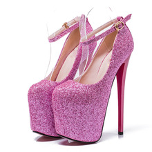 Sexy Fashion Platform Pumps Women Ultra High Stiletto Heels Shoes Round Toe Glitters Sequins Party Wedding Shoe