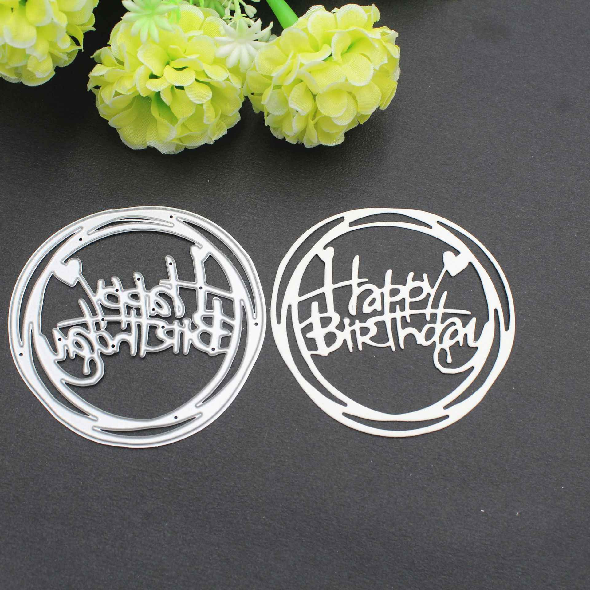 Happy Birthday Words Metal Cutting Dies Stencil For DIY Scrapbooking Photo Album Embossing Paper Cards Crafts Die Cuts