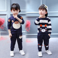 2017 New 1 2 3 4 Years Baby Boys Long Sleeve 2 Pieces Clothing Set Kids