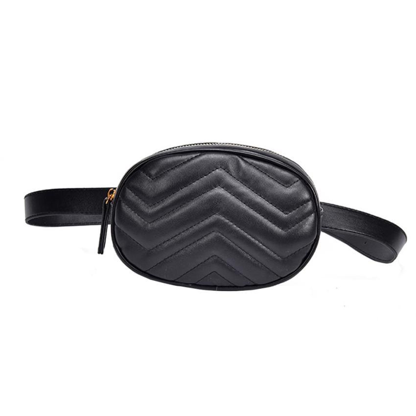 Women Pure Color Leather Messenger Shoulder Bag Chest Bag Travel Bag Lines Waist Pack  New