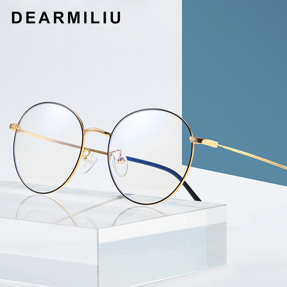 Dearmiliu Oval Rose Gold Frame Anti Blue Light Blocking Glasses Led Computer Reading Radiation-resistant Glasses Gaming Eyewear Keep You Fit All The Time