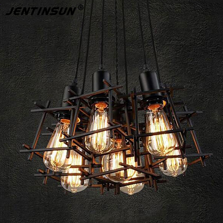 Creative industrial lamps - Aliexpress Com Buy Loft Creative Metal Cage Led Light Retro Wrought Iron Design Lamps Industrial Vintage Pendant Lights Hanging Lamp For Bar Cafes From