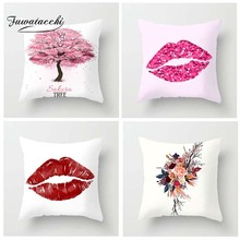 Fuwatacchi Enthusiasm Style Cushion Cover Kiss Tropical Plant Cherry Tree Printed Pillow Decorative Pillows For Sofa Car