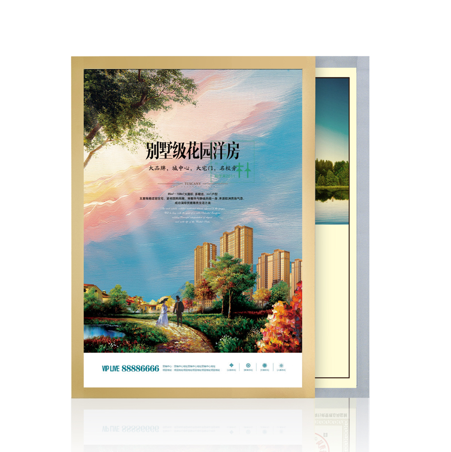Presentation Folder Sticker Poster Display Case A3 Magnetic Edge Wall Mount Banner Sign Holder Display Wall Picture Photo Frame
