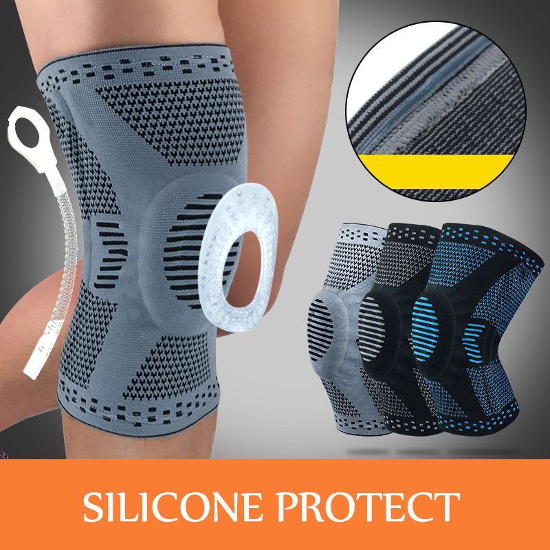 1 Pcs Nylon Elastic Sports Knee Pads Breathable Knee Support Brace Running Fitness Hiking Cycling Knee Protector Silicone Pad