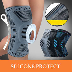 1 pcs silicone pad Nylon Elastic Sports Knee Pads Breathable Knee Support Brace Running