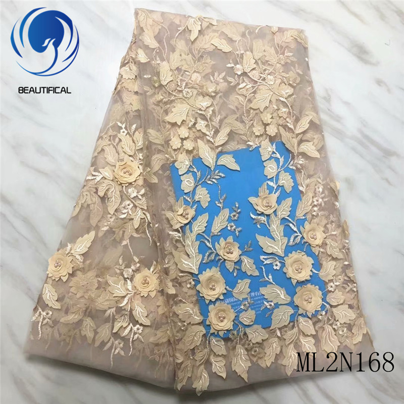 BEAUTIFICAL 3d African Lace Embroidery Latest Gold Tulle Mesh Lace Fabrics High Quality 2019 Lace 3d ML2N168BEAUTIFICAL 3d African Lace Embroidery Latest Gold Tulle Mesh Lace Fabrics High Quality 2019 Lace 3d ML2N168