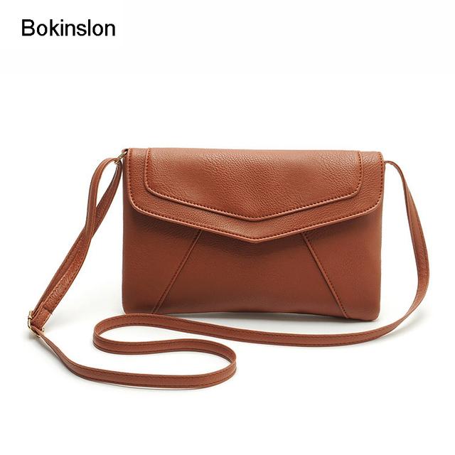 Bokinslon Woman Shoulder Bags Retro PU Leather Handbags For Women Fashion Candy Colors Mini Female Crossbody Bag