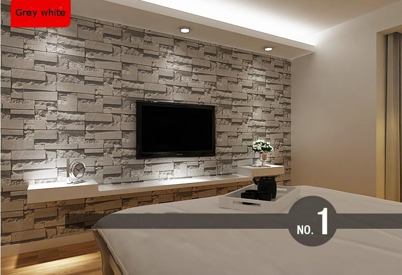 3d stone wallpaper picture more detailed picture about for Grey brick wallpaper living room