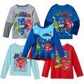 Niño niños niñas ropa de Los Niños t camisa de algodón de manga larga tee con oooo owlette gekko catboy cartoon extraíble cabo nuevo