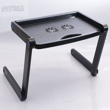 SUFEILE 360 Rolling Adjustable Portable Notebook Desk Laptop Stand  MultiFunctional Folding Laptop Table Desk Bed Sofa Tray D5