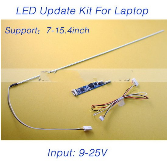 2pcs X LCD Laptop Dimable LED Backlight Lamps Adjustable Light Update Kit Strip+Board 9-25V Input