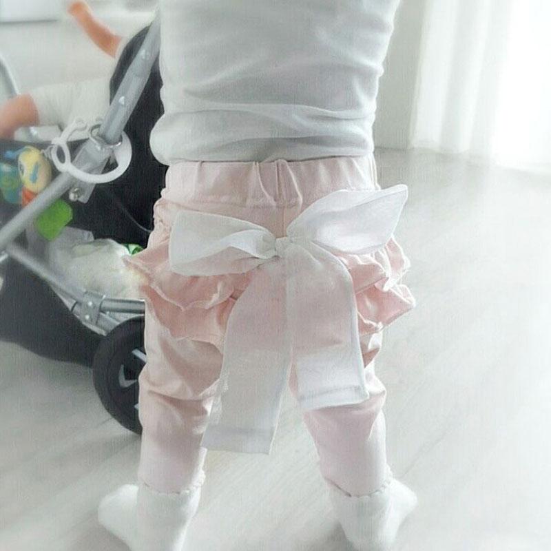 Infant Baby Girl Layered Ruffle Pants Toddler Kid Long Pants Bowknot Casual Bottoms Clothing 1